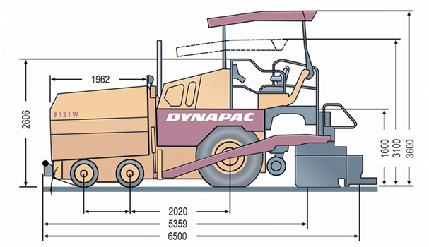 f121 6w d • dynapac atlas copco blueprint side view f121 6w d