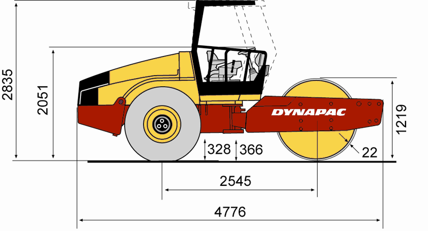 ca152d • dynapac atlas copco blueprint side view ca152d