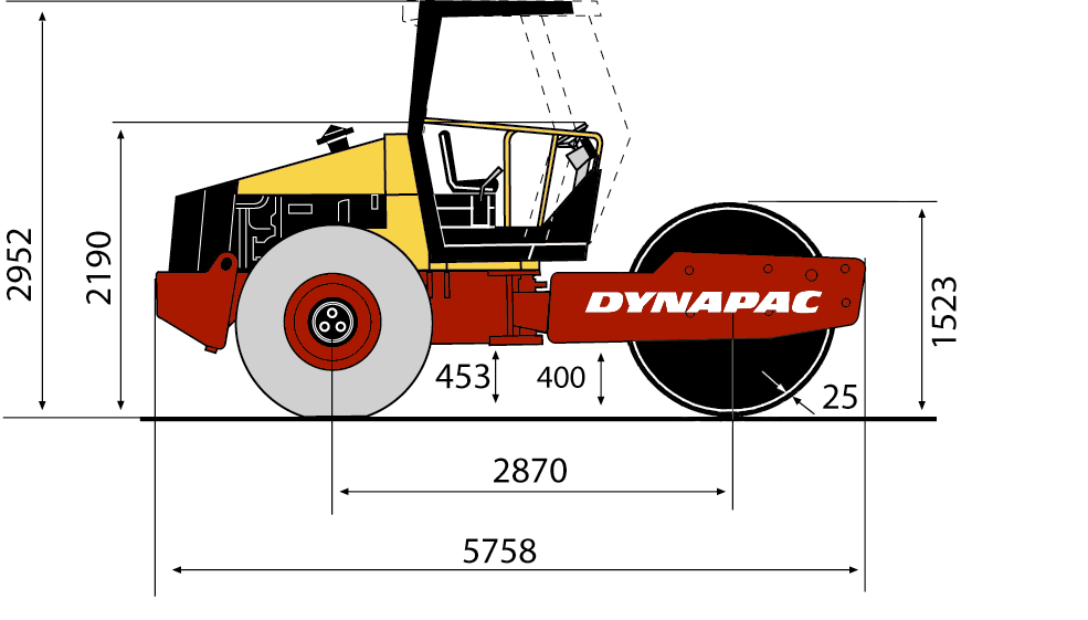 ca260d • dynapac atlas copco blueprint side view ca260d